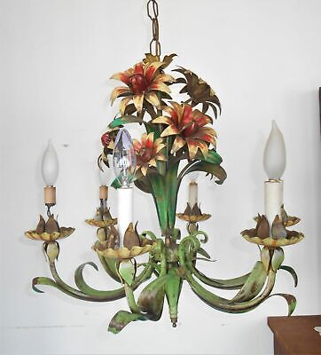 Vintage Toleware Chandelier French Country Style Floral 6 Arms 1940s Feldman ?