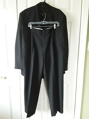 Stafford Men 2 Pc Suit Black Jacket 50R Pants 42W x 30L Pleated Front Wool blend