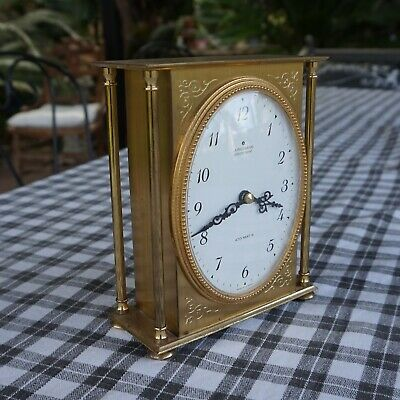 Vintage Junghans Electronic Brass Mantel Clock Germany Battery Op Works well