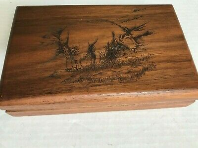 """Vintage Handmade Hinged Wooden Box w/ Etched Goat on Top  7.25"""" x 4.5"""" Lined"""