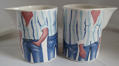 2 Carlton Ware Denim Blue Jeans Androgynous Male Female Creamers Cream Pitchers