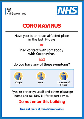 Covid Nhs Virus Warning Sign Sticker For Businesses And Offices 19
