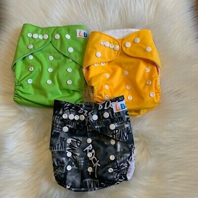 Baby LBB Lot of 3 Green Yellow Reusable Cloth Diapers with Inserts One Size