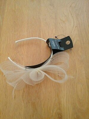 M & S White Natural Straw/Feather Headband Fascinator Hat BNWT
