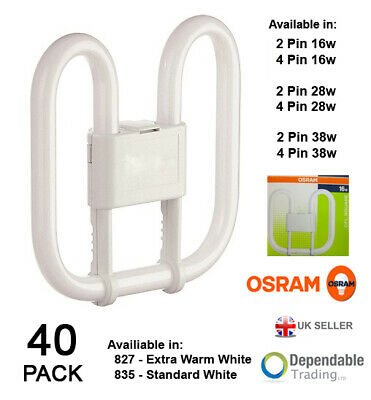 5 X Osram 16W 4 Pin CFL Square 2D 3500k White 1050 lumens GR10q Light Bulb Lamp