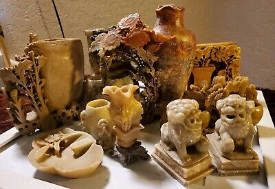 Antique or Vintage Chinese Hand Carved Orange & Gray Soapstone lot of 10 pieces