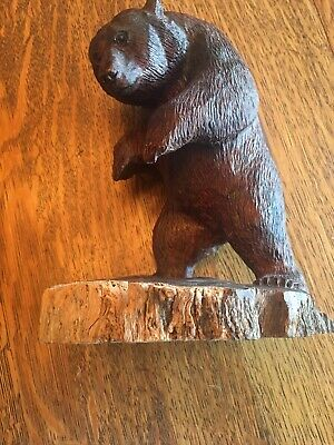 Hand Carved Wood Bear Signed 10 1/4 Tall