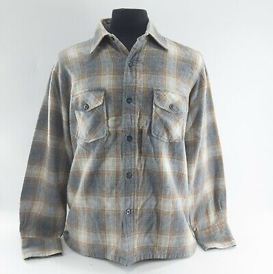 Vtg 80s Wool Of The West Long Sleeve Plaid Flannel Wool Size Large Not Pendleton