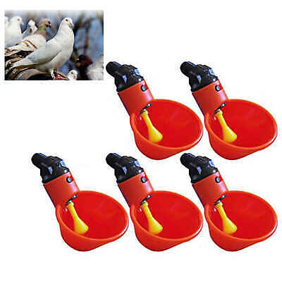 Automatic Waterer Drinker Cups Bowls Chicken Coop Poultry Chook Bird Drink 5 pcs
