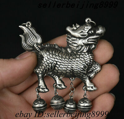 Old China Dynasty Miao Silver Platinum Kylin Chi-lin Qilin Amulet Pendant Statue