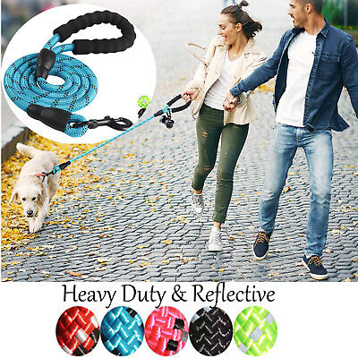5FT Heavy Duty Dog Leash Lead Rope Walking Strap Padded Handle Reflective Thread