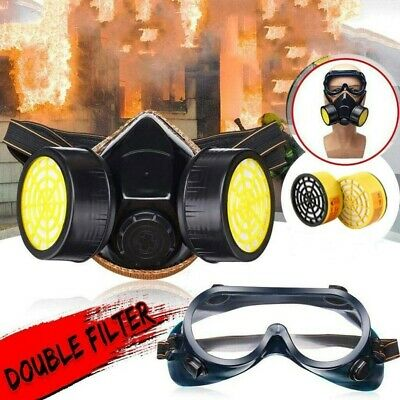Survival Gas Mask Safety Respiratory Tool w/ 2 Dual Protection Filter And Goggle