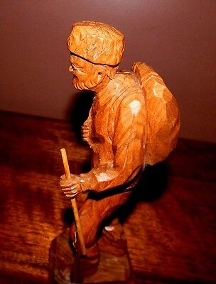 Antique woodcarving, Quebec artist, Paul E. Caron. Old Hunter with rifle, Canada