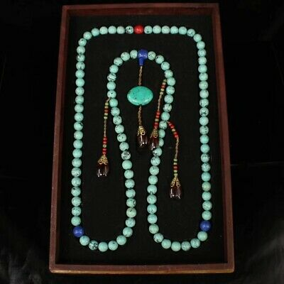 China Qing Dynasty Turquoise court beads Pendant Necklace with dragon wood box
