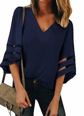 BLENCOT Womens 3/4 Bell Sleeve V Neck Lace Patchwork Blouse Casual Loose Shirt T