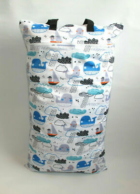 Extra Large XL Wet Bag - Baby Nappy Pail for Reusable Nappies Pads Wipes - Ocean