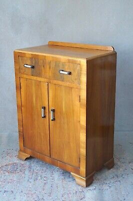 Art Deco Cupboard Burr Walnut Antique - Delivery Available