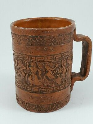 Greek pottery cup with handle and etchings on all sides of mug (brown)