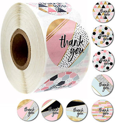 x100 Thank You Stickers Round Love Labels Pink Gifts Arts Crafts Box Wedding