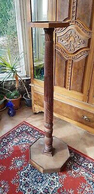 Antique-Victorian Carved Mahogany/Oak Pineapple Trunk Tall Pot Table/Stand-c1870