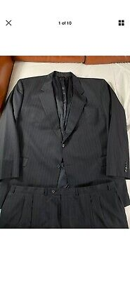 Jack Victor Classic 58L Pinstripe Suit 48x32 Pleated Cuffed Made In Canada