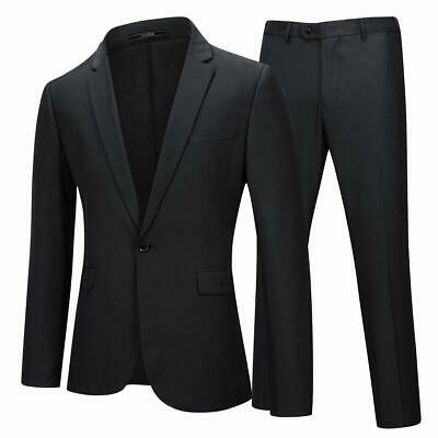 YFFUSHI Mens 2 Piece Suits One Button Formal Slim Fit Solid Color Wedding Tuxedo