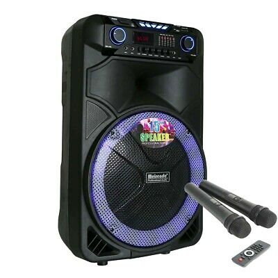 "Portable 15"" PA Karaoke Bluetooth Speaker Subwoofer Sound System Machine W/2Mic"
