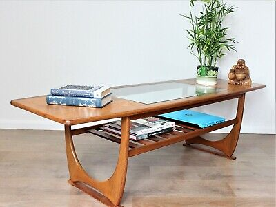 Vintage Retro G Plan Teak Scandi Coffee Table Magazine Rack Mid Century Danish
