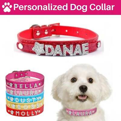 Dog Collar Personalised Leather Cat Pet Name Charms Puppy UK Tag Customised Lead