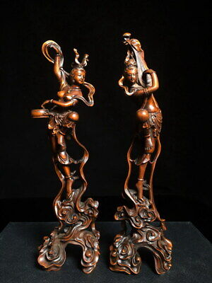 Collectable Unique Boxwood Carving Two Fairies Came Down Earth Exquisite Statue