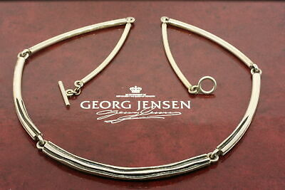 Georg Jensen Sterling Silver Necklace Choker Collar Chain & Box 353B 17""