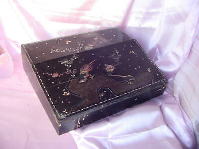 Antique Chinese Wood Travel Lap Desk Inlaid Mother Of Pearl For Repair - Vintage