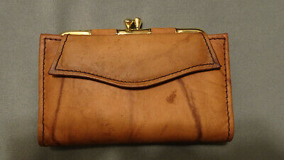 Vintage Brown Winston Glove Tanned Cowhide Leather Wallet Change Womens