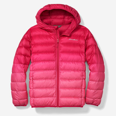 Eddie Bauer GIRLS KIDS CIRRUSLITE DOWN Hooded Jacket Violet Size L