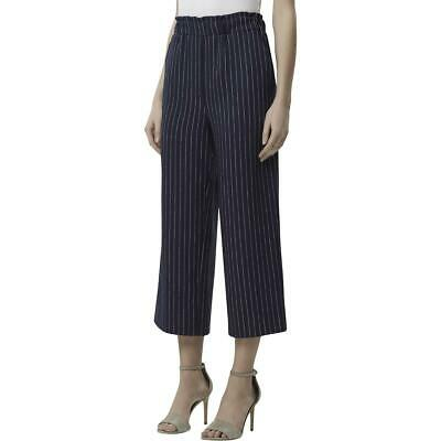 Tahari ASL Womens Navy High Rise Pinstripe Pull On Wide Leg Pants 6 BHFO 6287