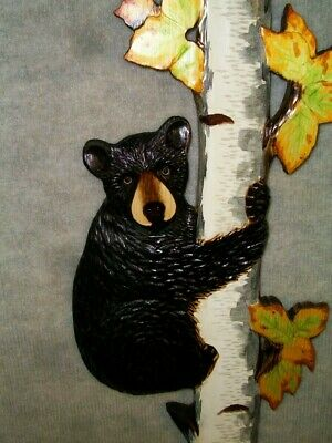 Hand Carved BLACK BEAR CUB up BIRCH TREE Wall Art Chainsaw Cabin Wood Carving