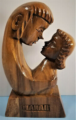 Lovers Embrace Wooden Hawaii Loving Hand Carved Beautiful Unique Vintage