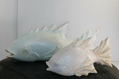 Carved (1) Large and (1) Small Wooden Japanese White Koi Fish Carving NICE!