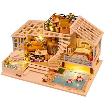 DIY LED Music Dollhouse Miniature Wooden Cottage House Furniture Kit Doll House