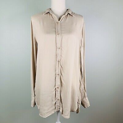 Anthropologie Cloth & Stone Shirt Button Down Beige Large L Soft Long Sleeves