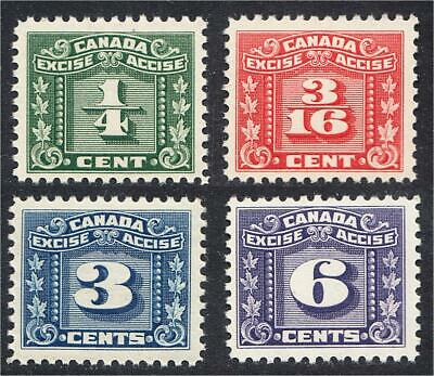 Canada Revenue Stamps FX53 FX57 FX64 FX68 Three-Leaf Excise Tax 1934 MNH
