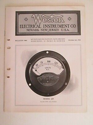 Weston Electrical Instruments Price Catalog 1921 Model  429 431 427 401