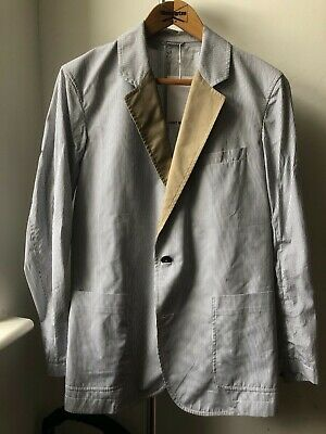 Very Cool UMIT BENAN Blazer Jacket Size 48 Striped Notch Lapel Made in Italy