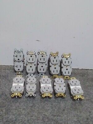 Lot of 10 Mixed Brands Duplex Receptacle 15A 125V Grey  - USED