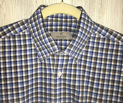 Canali Italy Men's Large Dress Casual Shirt 15 34/35 Long Sleeve Blue Plaid