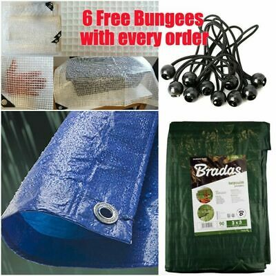 10 Sizes Of Heavy Duty Tarpaulin Blue Waterproof Cover Tarp With 6 Free Bungees