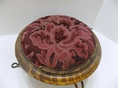 Antique Short, Small, Round Foot Stool  Metal, Wood, Fabric  (R25-6)