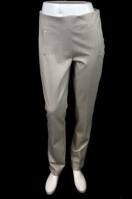 womens tan houndstooth CHICOS 0.5 pull on casual dress pants stretch modern S 6