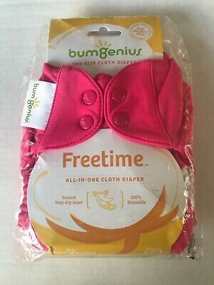 BumGenius Freetime Cloth Diaper OS One Size Pink Countess All In One AIO Snaps