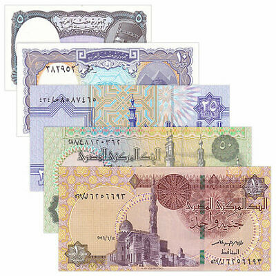 Egypt 5 PCS Banknotes Paper Money 5-50 Piastre 1 Pound EGP Real Currency UNC